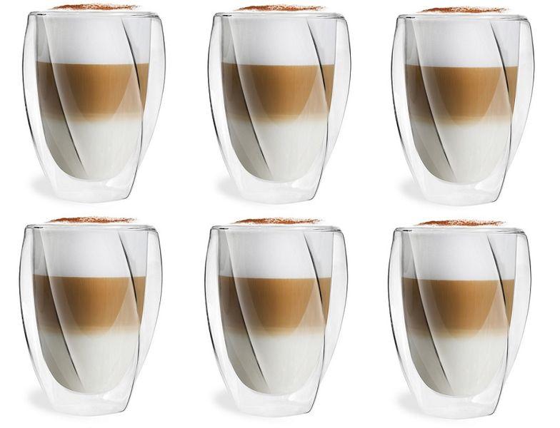 Szklanki Termiczne z Podwójną Ścianką do Kawy Latte Herbaty 300ml 6szt zdjęcie 1
