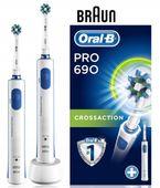 Szczoteczki elektryczne BRAUN ORAL-B PRO 690 CROSS 2 sztuki