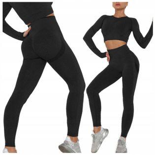 Komplet sportowy legginsy bezszwowe + top czarny S