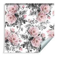 Tapeta do Salonu Piękne Pastelowe Kwiaty Liście Rośliny