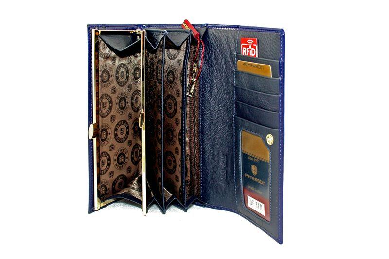 Duży granatowy portfel damski, RFID, Peterson zdjęcie 7