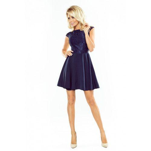 Sukienka MARTA z koronką - GRANATOWA XL zdjęcie 3