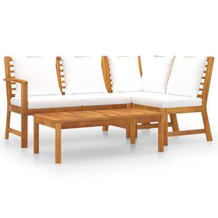 Lumarko 4-cz. zestaw wypoczynkowy do ogrodu, poduszki, drewno akacjowe