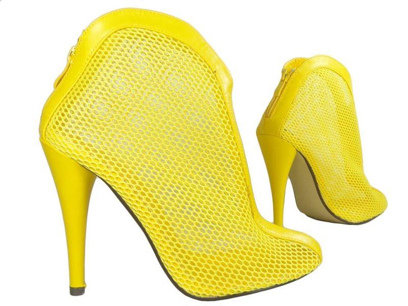07d20e7fcf43b Żółte botki letnie ażurowe szpilki buty damskie 39 • Arena.pl