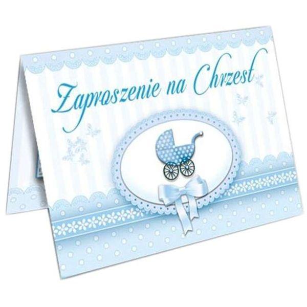 Zaproszenia Chrzest święty Błękitne Z Kopertą X10 Arenapl