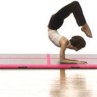 Mata gimnastyczna z pompką 400x100x10cm PVC różowa VidaXL