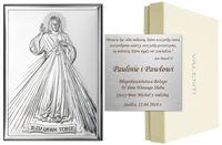 OBRAZEK SREBRNY 13x18cm JEZUS MIŁOSIERNY PAMIĄTKA NA CHRZEST, ŚLUB, KOMUNIĘ grawer