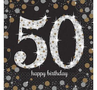 Serwetki na 50 -te Urodziny cyfry złoto-srebrne