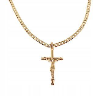 Łańcuszek Z Krzyżem 60Cm Stal Pozłacany Złoty