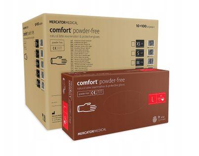 Rękawice lateksowe comfort powder-free L  karton 10 op. x 100 szt.