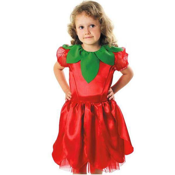 strój CZERWONY KWIATEK sukienka WIOSNA 134/140 cm zdjęcie 1