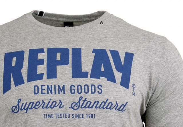 REPLAY Men's Printed Cotton Jersey T-Shirt Grey Melange M34812660-M02 - L zdjęcie 3