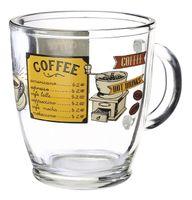 Kubek szklanka z uchem KAWA 300 ml wz.10 nadruk coffee