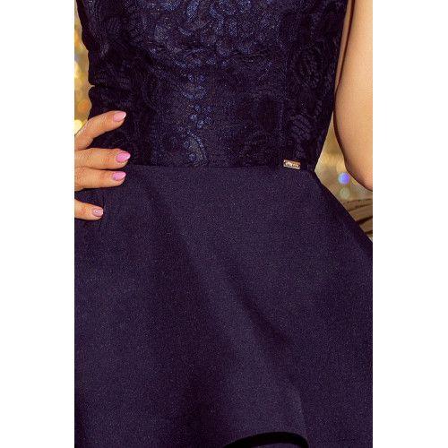 LAURA podwójnie rozkloszowana sukienka z koronkową górą - GRANATOWA XL zdjęcie 6