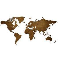 Mapa świata 3d dekoracja na ścianę  drewno  Design