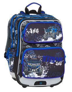 Trzykomorowy plecak szkolny Bagmaster, monster truck