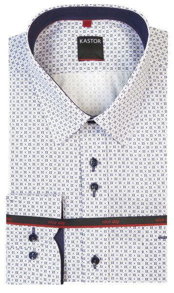 82cf0868be3d21 Biała koszula męska Kastor - niebieski wzór K18 Rozmiar koszuli i fason -  176-182