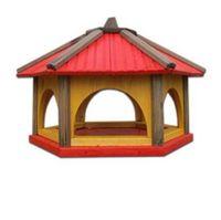 Karmnik dla ptaków Drew-Handel K60R/D 60cm Czerwony karmnik wykonany z drewna iglastego odpornego na warunki atmosferyczne