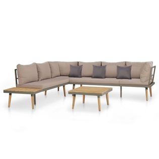 4-cz. zestaw mebli ogrodowych, poduszki, drewno akacjowe, brąz