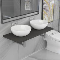 Lumarko Trzyczęściowy zestaw mebli do łazienki, ceramiczny, szary