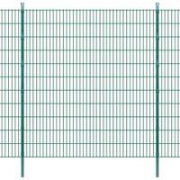 VidaXL 2D Panele i słupki ogrodzeniowe 2008x2230 mm 22 m zielone