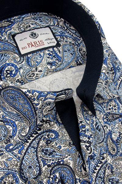 7b3a5cadaa36db Koszula Męska Big Paris niebieska we wzory SLIM FIT na długi rękaw A081 - 43 /