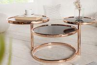 Stolik  DECO chrom / kawowy / okrągły / rozkładany / szkło transparentne  / podstawa metal / chrom