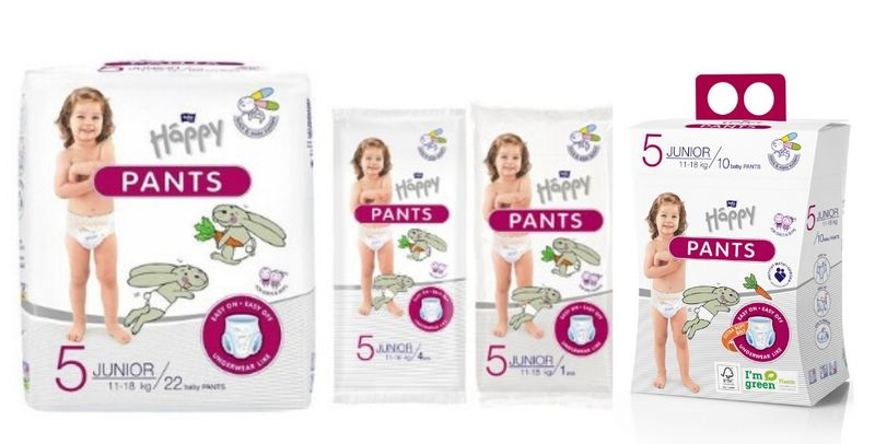 Pieluchomajtki dla dzieci Happy Pants Junior 11-18 kg Folia 22 szt. na Arena.pl