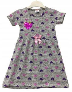 Sukienka dziewczęca Serca fiolet roz.98
