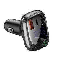 Baseus Transmiter Fm Bluetooth 5.0 Ładowarka Samochodowa Pps Quick Charge Qc4.0 Power Delivery Usb Typ C / Micro Sd 5A 36W Czarny (Cctm-B01)