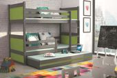 Łóżko meble dla dzieci drewniane Mateusz 190x80 piętrowe 3osobowe zdjęcie 13