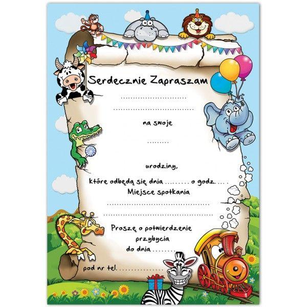 Zaproszenie Zaproszenia Na Urodziny Ciuchcia Zwierzątka Arenapl