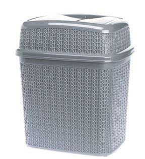 Kosz uchylny WILLOW 10 l na śmieci odpadki szary sweterkowy wzór