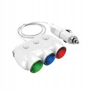 ROZGAŁĘZIACZ ZAPALNICZKI ADAPTER 2 X USB 3.1A 3GNI