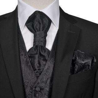 Męska kamizelka ślubna z akcesoriami, wzór paisley, 56, czarna