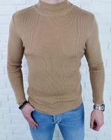 Półgolf sweter męski beżowy 3431 - XL