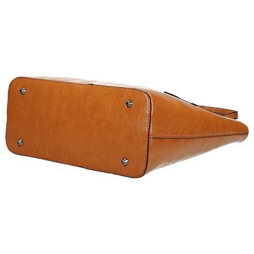3f9a52d91847f Klasyczna brązowa lekko połyskująca torebka damska shopperka w kolorze  koniakowym Ines Delarue zdjęcie 4