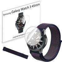 Pasek nylonowy opaska i szkło hartowane do Samsung Galaxy Watch 3 45mm Indigo