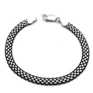 Bransoletka srebrna oksydowana bismark 19 cm