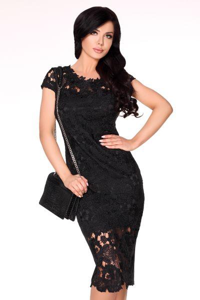 213669f2d3 Obcisła elegancka Sukienka koronkowa Midi na imprezę szykowna XL zdjęcie 1