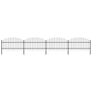 Panele ogrodzeniowe z grotami stal (1-1.25)x6.8m czarne VidaXL
