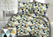 Pościel z kory 160x200 wzór kolorowe trójkąty