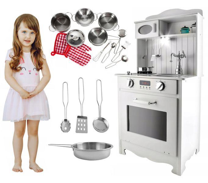 Kuchnia Drewniana Dla Dzieci z Oświetleniem + metalowe garnki U31G zdjęcie 14