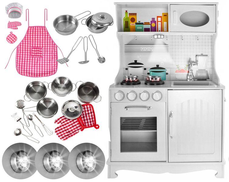 Kuchnia Drewniana Dla Dzieci Kuchenka Metalowe Garnki Światła Akcesoria Z371K zdjęcie 14
