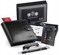 Zagatto Mały portfel męski skórzany RFID premium 109L-BAR-2