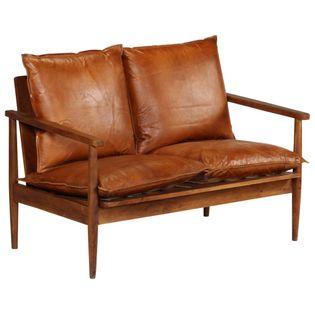 2-Osobowa Sofa Z Prawdziwej Skóry I Drewna Akacjowego, Brązowa