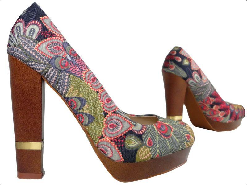 Szpilki na platformie buty na słupku kolorowe 38 zdjęcie 3