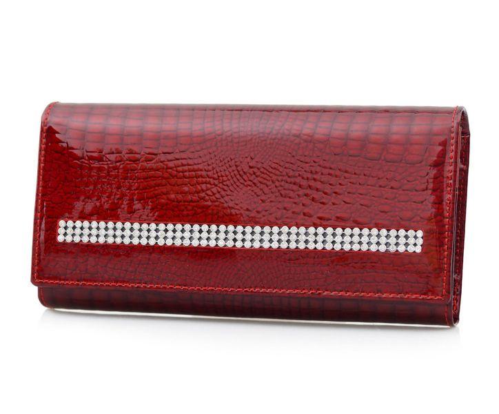 d7522c3c28dea ALESSANDRO PAOLI portfel skórzany damski lakierowany cyrkonie P077 czerwony  zdjęcie 1