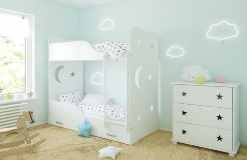 Łóżko piętrowe STARS 180x80 + 2 materace piankowe + pojemna szuflada