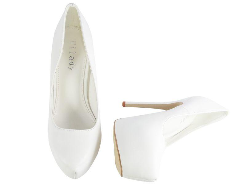 bbb348ec9ea19 Białe szpilki na platformie matowe buty ślubne 36 • Arena.pl